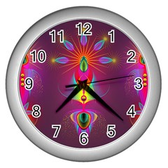 Abstract Bright Colorful Background Wall Clocks (silver)
