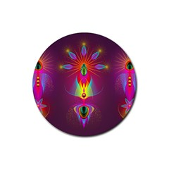 Abstract Bright Colorful Background Rubber Coaster (round)