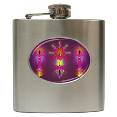 Abstract Bright Colorful Background Hip Flask (6 Oz)