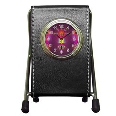 Abstract Bright Colorful Background Pen Holder Desk Clocks