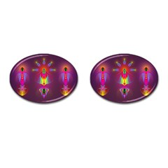 Abstract Bright Colorful Background Cufflinks (oval)