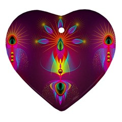 Abstract Bright Colorful Background Heart Ornament (two Sides)