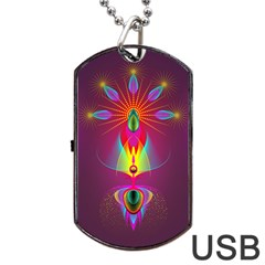 Abstract Bright Colorful Background Dog Tag Usb Flash (two Sides)