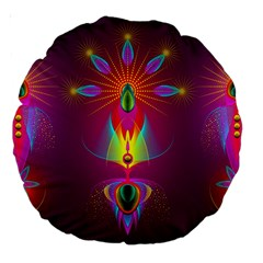 Abstract Bright Colorful Background Large 18  Premium Round Cushions