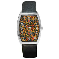 Pattern Background Ethnic Tribal Barrel Style Metal Watch