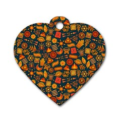 Pattern Background Ethnic Tribal Dog Tag Heart (one Side) by Nexatart