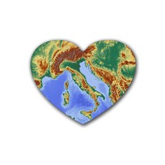 Italy Alpine Alpine Region Map Rubber Coaster (heart)