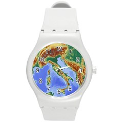 Italy Alpine Alpine Region Map Round Plastic Sport Watch (m)