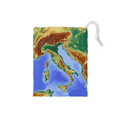 Italy Alpine Alpine Region Map Drawstring Pouches (small)