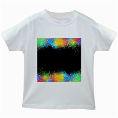 Frame Border Feathery Blurs Design Kids White T Shirts