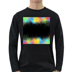 Frame Border Feathery Blurs Design Long Sleeve Dark T Shirts