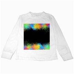 Frame Border Feathery Blurs Design Kids Long Sleeve T Shirts