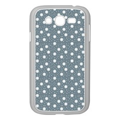 Floral Dots Blue Samsung Galaxy Grand Duos I9082 Case (white) by snowwhitegirl