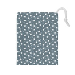 Floral Dots Blue Drawstring Pouches (large)  by snowwhitegirl