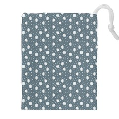 Floral Dots Blue Drawstring Pouches (xxl) by snowwhitegirl