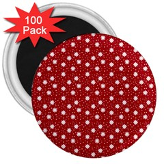 Floral Dots Red 3  Magnets (100 Pack) by snowwhitegirl