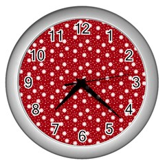 Floral Dots Red Wall Clocks (silver)  by snowwhitegirl