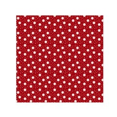 Floral Dots Red Small Satin Scarf (square) by snowwhitegirl