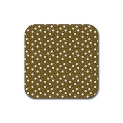 Floral Dots Brown Rubber Square Coaster (4 Pack)