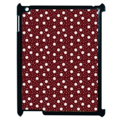 Floral Dots Maroon Apple Ipad 2 Case (black) by snowwhitegirl