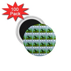 Dino In The Mountains Blue 1 75  Magnets (100 Pack)  by snowwhitegirl