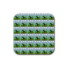 Dino In The Mountains Blue Rubber Square Coaster (4 Pack)  by snowwhitegirl