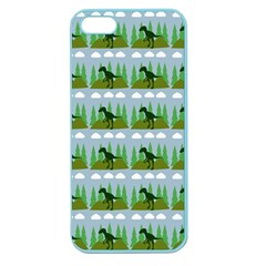 Dino In The Mountains Blue Apple Seamless Iphone 5 Case (color)