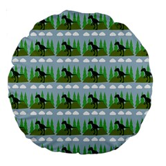 Dino In The Mountains Blue Large 18  Premium Round Cushions by snowwhitegirl