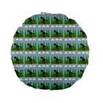 Dino In The Mountains Blue Standard 15  Premium Flano Round Cushions Back