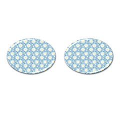 Daisy Dots Light Blue Cufflinks (oval) by snowwhitegirl