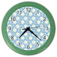 Daisy Dots Light Blue Color Wall Clocks by snowwhitegirl