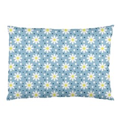 Daisy Dots Light Blue Pillow Case by snowwhitegirl