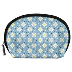 Daisy Dots Light Blue Accessory Pouches (large)  by snowwhitegirl