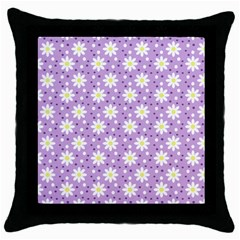 Daisy Dots Lilac Throw Pillow Case (black) by snowwhitegirl