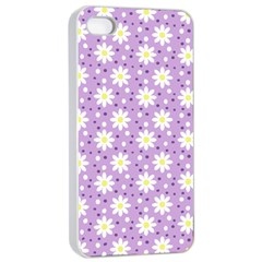 Daisy Dots Lilac Apple Iphone 4/4s Seamless Case (white) by snowwhitegirl