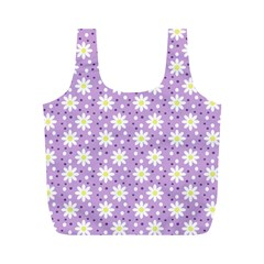 Daisy Dots Lilac Full Print Recycle Bags (m)  by snowwhitegirl
