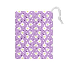Daisy Dots Lilac Drawstring Pouches (large)  by snowwhitegirl