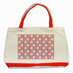 Daisy Dots Pink Classic Tote Bag (red) by snowwhitegirl