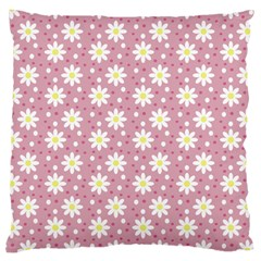 Daisy Dots Pink Large Cushion Case (two Sides) by snowwhitegirl