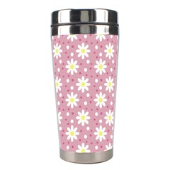 Daisy Dots Pink Stainless Steel Travel Tumblers by snowwhitegirl