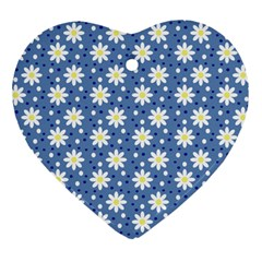 Daisy Dots Blue Heart Ornament (two Sides) by snowwhitegirl