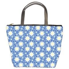 Daisy Dots Blue Bucket Bags by snowwhitegirl