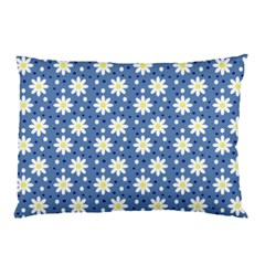 Daisy Dots Blue Pillow Case by snowwhitegirl