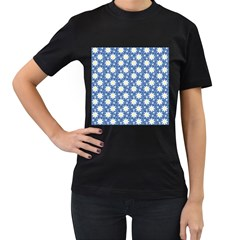 Daisy Dots Blue Women s T Shirt (black) by snowwhitegirl