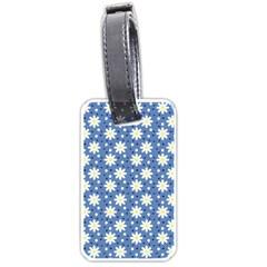 Daisy Dots Blue Luggage Tags (one Side)  by snowwhitegirl