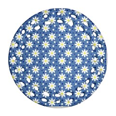 Daisy Dots Blue Round Filigree Ornament (two Sides) by snowwhitegirl