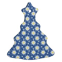 Daisy Dots Blue Christmas Tree Ornament (two Sides) by snowwhitegirl