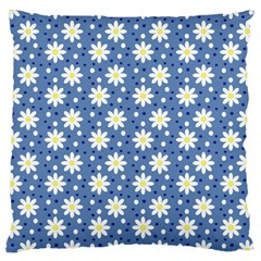 Daisy Dots Blue Large Cushion Case (two Sides) by snowwhitegirl