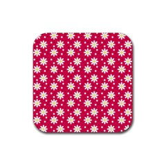 Daisy Dots Light Red Rubber Square Coaster (4 Pack)  by snowwhitegirl