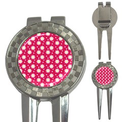 Daisy Dots Light Red 3 In 1 Golf Divots by snowwhitegirl